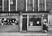 That Tea Room and Les's Whole Food Shop, squatted premises in Great Western Road, North Paddington, London; 1976
