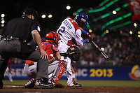 SAN FRANCISCO - MARCH 19:  Erick Aybar of the Dominican Republic bats during the World Baseball Classic final game against Puerto Rico at AT&T Park on March 19, 2013 in San Francisco, California. (Photo by Brad Mangin)