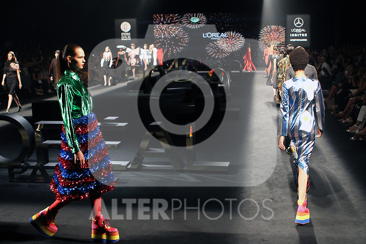 Models walk the runway at the L'Oreal Paris anniversary fashion show during the Mercedes Benz Fashion Week Spring/Summer 2020 at Ifema on July 10, 2019 in Madrid, Spain.(ALTERPHOTOS/ItahisaHernadez)