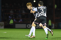 Jon Nolan of Grimsby Town celebrates scoring their fourth during the Vanarama National League match between Aldershot Town and Grimsby Town at the EBB Stadium, Aldershot, England on 5 April 2016. Photo by Paul Paxford / PRiME Media Images.