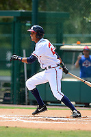 GCL Braves outfielder Victor Reyes (27) during a game against the GCL Blue Jays on July 15, 2013 at Disney's Wide World of Sport in Orlando, Florida.  The game was called in the 4th inning due to rain storms with the Braves leading 5-0.  (Mike Janes/Four Seam Images)