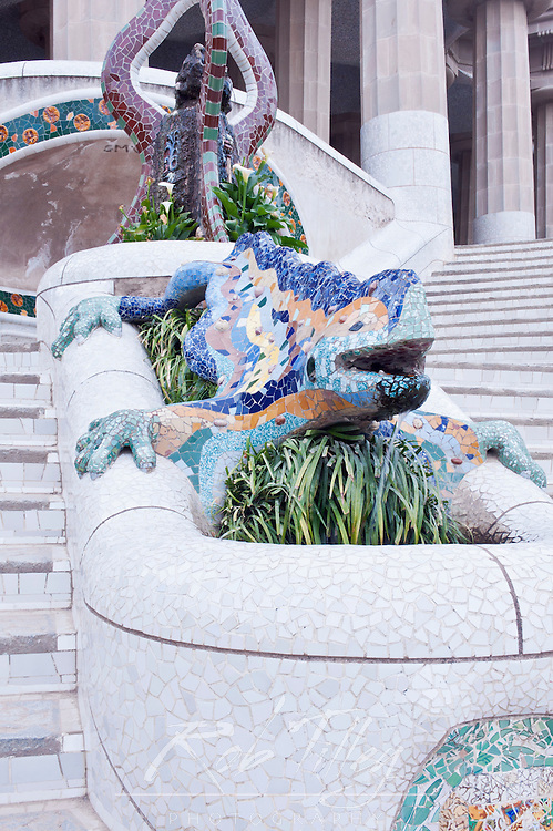 Europe, Spain, Catalonia, Barcelona, Park Guell, Mosaic Dragon