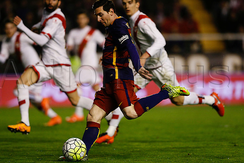 03.03.2016. Madrid, Spain.  Lionel Andres Messi (10) FC Barcelona. La Liga match between Rayo Vallecano and FC Barcelona at the Vallecas stadium in Madrid, Spain
