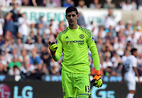 Thibaut Courtois of Chelsea in action during the Premier League match between Swansea City and Chelsea at The Liberty Stadium on September 11, 2016 in Swansea, Wales.