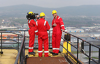 JOHANN MULLER VISITS HARLAND &amp; WOLFF BELFAST -    Wednesday 30th April 2014<br /> <br /> Johann Muller is interviewed by the BBC NI's Gavin Andrews on top of the Samson crane during their Harland &amp; Wolff shipyard in Belfast.<br /> <br /> Mandatory Credit - Photo by John Dickson - DICKSONDIGITAL
