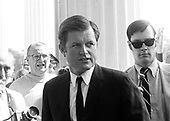 "Washington, DC - (FILE) -- United States Senator Edward M. ""Ted"" Kennedy (Democrat of Massachusetts) returns to the United States Senate in Washington, D.C. on July 30, 1969 for the first time following the automobile accident which claimed the life of Mary Jo Kopechne..Credit: Arnie Sachs / CNP"
