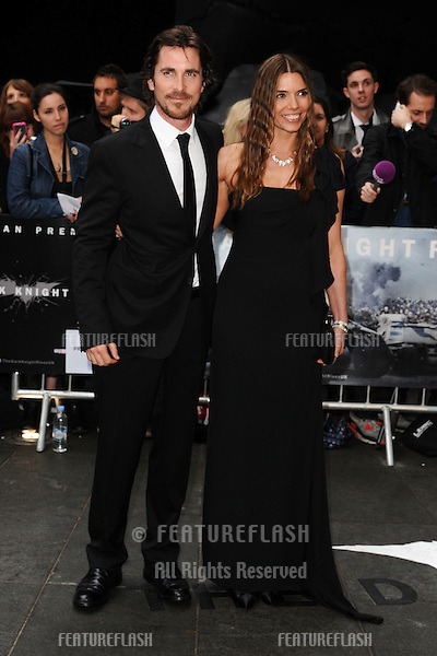 "Christian Bale and wife arriving for European premiere of ""The Dark Knight Rises"" at the Odeon Leicester Square, London. 18/07/2012 Picture by: Steve Vas / Featureflash"