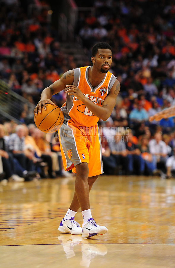 Mar. 25, 2011; Phoenix, AZ, USA; Phoenix Suns guard (0) Aaron Brooks against the New Orleans Hornets at the US Airways Center. The Hornets defeated the Suns 106-100. Mandatory Credit: Mark J. Rebilas-