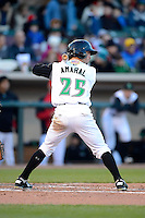 Dayton Dragons outfielder Beau Amaral #25 during a game against the Bowling Green Hot Rods on April 20, 2013 at Fifth Third Field in Dayton, Ohio.  Dayton defeated Bowling Green 6-3.  (Mike Janes/Four Seam Images)