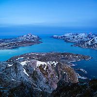 View from summit of Offersoykammen, Vestvagoy, Lofoten Islands, Norway