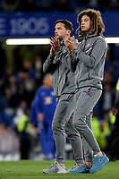 Danny Drinkwater and Ethan Ampadu of Chelsea walk round the pitch at the end of the match to applaud the home fans during Chelsea vs Huddersfield Town, Premier League Football at Stamford Bridge on 9th May 2018