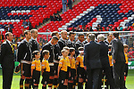 LONDON, ENGLAND - MAY 12: Newport County line up before the FA Carlsberg Trophy Final between York City and Newport County at Wembley Stadium on May 12, 2012 in London, England. (Photo by Dave Horn - Extreme Aperture Photography)