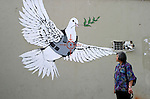 A Tourist is looking a wall painting by elusive British graffiti artist Banksy on a shop wall in the West Bank town of Bethlehem on July 6 2009. The Bristol-born artist has adorned Israel's West Bank separation barrier and Bethlehem walls with new images, including this one of a dove wearing a flak jacket and a soldier being frisked by a young girl. His works, along with those of other international artists, are part of an exhibition called Santa's Ghetto. Photo by Najeh Hashlamoun