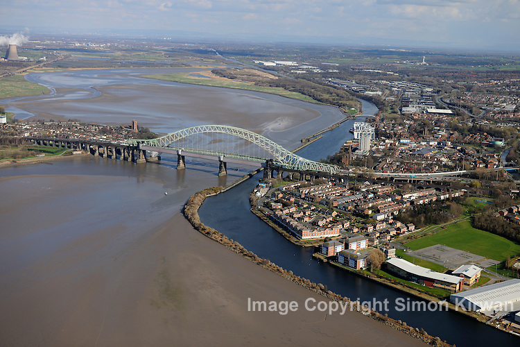 The Silver Jubilee Bridge, also known as the Runcorn-Widnes Road Bridge from the Air.