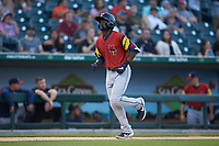 Daz Cameron (10) of the Toledo Mud Hens jogs towards home plate after hitting a solo home run against the Charlotte Knights at BB&T BallPark on April 23, 2019 in Charlotte, North Carolina. The Knights defeated the Mud Hens 11-9 in 10 innings. (Brian Westerholt/Four Seam Images)