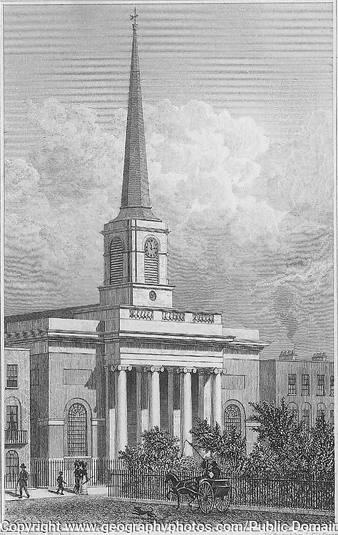 St Barnabas church, King Square, engraving 'Metropolitan Improvements, or London in the Nineteenth Century' London, England, UK 1828 , drawn by Thomas H Shepherd