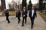 From left center, Nevada Sens. David Parks, Ben Kieckhefer and Mark Lipparelli walk to the Governor's office following opening day ceremonies at the Legislative Building in Carson City, Nev., on Monday, Feb. 2, 2015. (Cathleen Allison/Las Vegas Review-Journal)