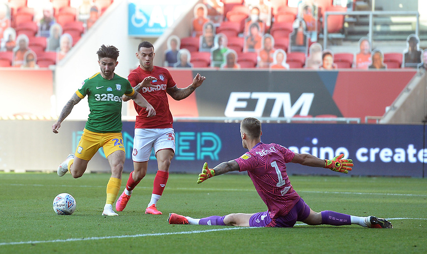 Preston North End's Sean Maguire scores his side's first goal  <br /> <br /> Photographer Ian Cook/CameraSport<br /> <br /> The EFL Sky Bet Championship - Bristol City v Preston North End - Wednesday July 22nd 2020 - Ashton Gate Stadium - Bristol <br /> <br /> World Copyright © 2020 CameraSport. All rights reserved. 43 Linden Ave. Countesthorpe. Leicester. England. LE8 5PG - Tel: +44 (0) 116 277 4147 - admin@camerasport.com - www.camerasport.com