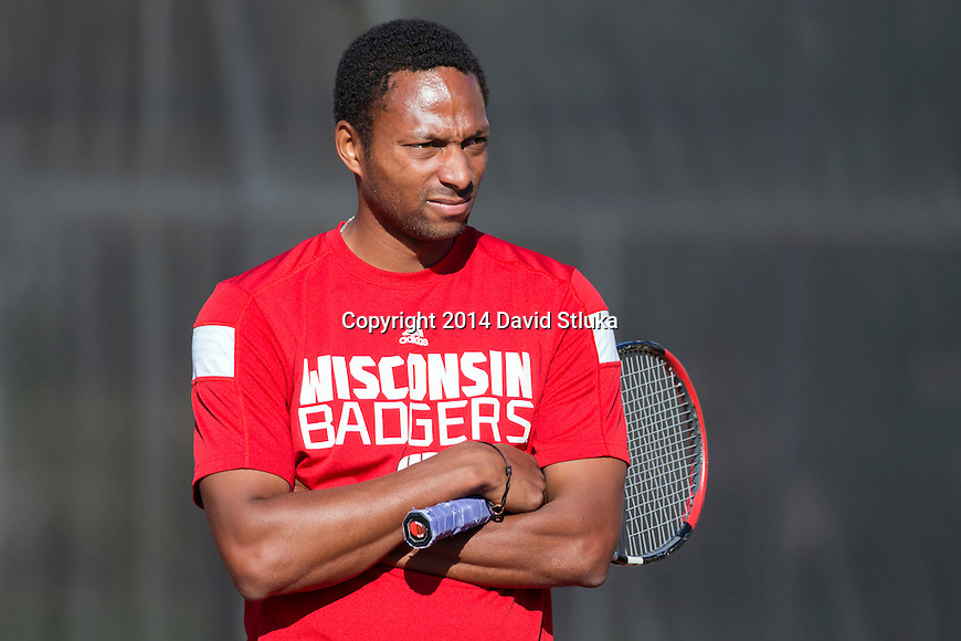 Wisconsin Badgers men's tennis assistant coach Scoville Jenkins looks on during a practice at the Nielsen Tennis Stadium Tuesday, September 16, 2014 in Madison, Wis. (Photo by David Stluka)
