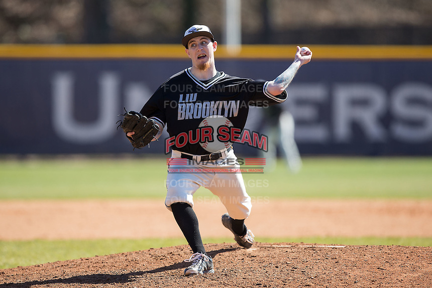 LIU-Brooklyn Blackbirds relief pitcher Chance Fuglistahler (31) in action against the High Point Panthers at Willard Stadium on March 8, 2015 in High Point, North Carolina.  The Panthers defeated the Blackbirds 9-0.  (Brian Westerholt/Four Seam Images)