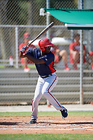 GCL Nationals left fielder Eric Senior (26) at bat during a game against the GCL Cardinals on August 5, 2018 at Roger Dean Chevrolet Stadium in Jupiter, Florida.  GCL Cardinals defeated GCL Nationals 17-7.  (Mike Janes/Four Seam Images)