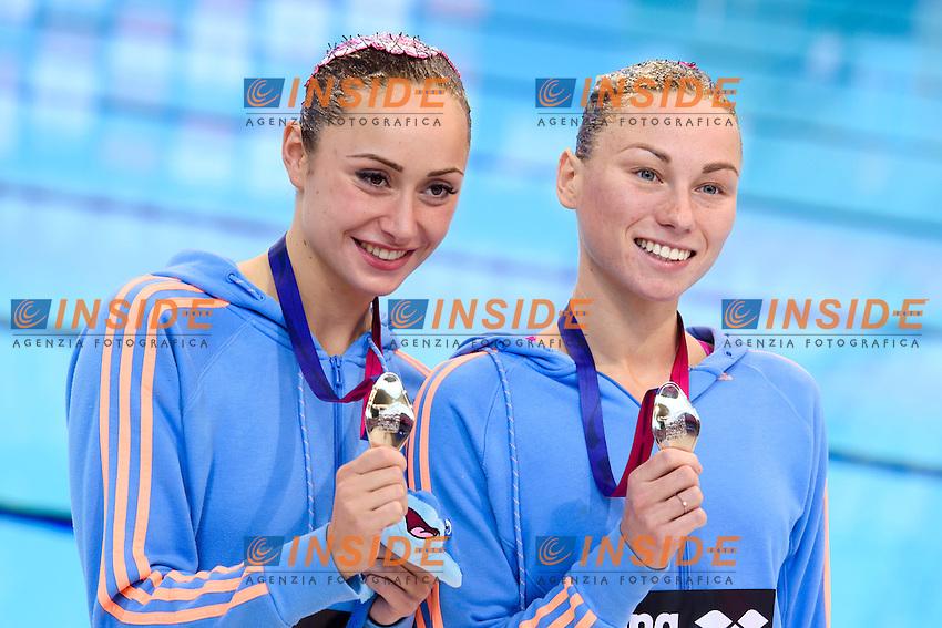 ANANASOVA Lolita / VOLOSHYNA Anna UKR Ukraine Silver Medal <br /> Duet Technical Final <br /> London, Queen Elizabeth II Olympic Park Pool <br /> LEN 2016 European Aquatics Elite Championships <br /> Synchronized Swimming <br /> Day 05 13-05-2016<br /> Photo Andrea Staccioli/Deepbluemedia/Insidefoto