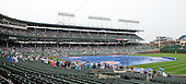 Interior of Wrigley Field in Chicago, Illinois showing the tarp covering the infield during the rain delay prior to the game against the Washington Nationals on Thursday, August 22, 2013.<br /> Credit: Ron Sachs / CNP