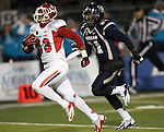 Fresno State's Derron Smith (13) scores after intercepting the ball against Nevada during the first half of an NCAA college football game in Reno, Nev., on Saturday, Nov. 10, 2012. (AP Photo/Cathleen Allison)