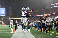 FOXBOROUGH, MA - NOVEMBER 24: New England Patriots Wide Receiver Julian Edelman #11 and New England Patriots Wide Receiver N'Keal Harry #15 celebrate the touchdown during a game between Dallas Cowboys and New England Patriots at Gillettes on November 24, 2019 in Foxborough, Massachusetts.