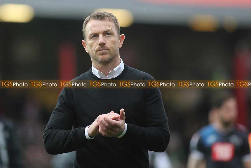 A shellshocked Gary Rowett, Manager of Derby County, applauds the away fans at the end of the match during Brentford vs Derby County, Sky Bet EFL Championship Football at Griffin Park on 14th April 2017