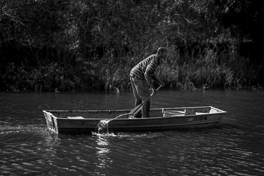 A Gullah man paddles his boat through one of the saltwater creeks on St. Helena Island, S.C. St. Helena has been able to stave off rampant development and as a result, many of the traditional fishing grounds are still accessible.