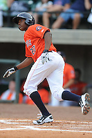 Greenville Astros second baseman Juan Santana #27 rounds the bases after homering in the fourth inning of a game against the Kingsport Mets at Pioneer Park on August 4, 2013 in Greenville, Tennessee. The Astros won the game 17-1. (Tony Farlow/Four Seam Images)