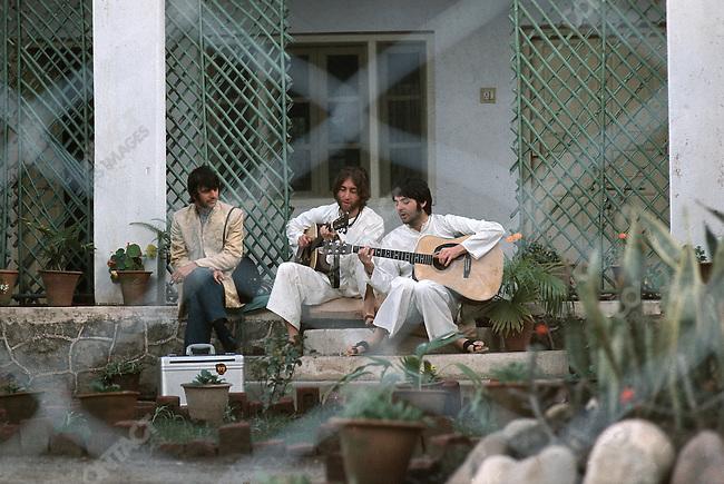 Ringo Starr, John Lennon and Paul McCartney, Maharishi Mahesh Yogi's ashram.Rishikesh, India, January 1968