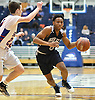 Alyjah Hill #3 of Hewlett, right, looks to get inside the paint as Patrick Basile #20 of South Side guards him during the Nassau County varsity boys basketball Class A semifinals at Hofstra University in Hempstead, NY on Wednesday, March 1, 2017. South Side won by a score of 58-46.