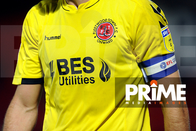 Fleetwood Town away shirt detail during the The Leasing.com Trophy match between Accrington Stanley and Fleetwood Town at the Fraser Eagle Stadium, Accrington, England on 3 September 2019. Photo by Greig Bertram / PRiME Media Images.