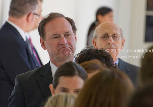 Associate Justice of the United States Supreme Court Samuel Alito and Associate Justice of the US Supreme Court Stephen Breyer on the Colonnade as they arrive for the Oath of Office ceremony for new Associate Justice of the US Supreme Court Neil Gorsuch in the Rose Garden of the White House in Washington, DC on Monday, April 10, 2017.<br /> Credit: Ron Sachs / CNP<br /> (RESTRICTION: NO New York or New Jersey Newspapers or newspapers within a 75 mile radius of New York City)