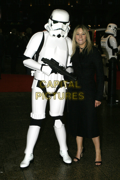 "STORM TROOPER & EDITH BOWMAN.Arrivals at ""Star Wars Episode III: Revenge of the Sith"" UK Premiere, Odeon Cinema Leicester Square, London,.May 16th 2005..full length character costume.Ref: AH.www.capitalpictures.com.sales@capitalpictures.com.©Adam Houghton/Capital Pictures."