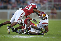 4 November 2006: Brandon Harrison and Tim Sims during Stanford's 42-0 loss to USC at Stanford Stadium in Stanford, CA.