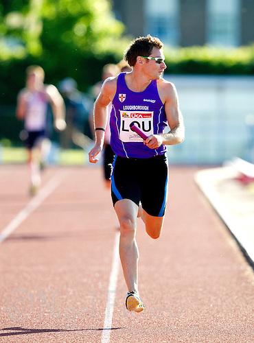 23 MAY 2010 - LOUGHBOROUGH, GBR - David Gillick (Loughborough University) - Mens 4 x 400m relay - Loughborough International Athletics (PHOTO (C) NIGEL FARROW)