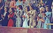 Members of United States President Jimmy Carter's family applaud from the gallery of the House of Representatives as he presents his National Energy Plan to a joint session of the US Congress in the US Capitol in Washington, DC on April 20, 1977. From left: Mrs. Dorothy Davis, mother of Annette Carter; Annette Carter; son Jeff Carter; Caron Carter; son Chip Carter, Miss Lillian Carter, the President's mother; and First Lady Rosalynn Carter.<br /> Credit: Arnie Sachs / CNP