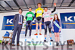 Chris McGlinchy Yellow jersey, Mark Dowling Green Jersey, Ali McCauley Mountain Jersey  with Padraig Mallon Kerry Group and Ciara O'Donoghue Miss Ras Mumhan at the final the stage of Ras Mumhan in Killorglin on Monday