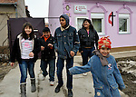 "THIS PHOTO IS AVAILABLE AS A PRINT OR FOR PERSONAL USE. CLICK ON ""ADD TO CART"" TO SEE PRICING OPTIONS.   Following worship, children and youth leave the United Methodist Roma congregation in Jabuka, Serbia.."