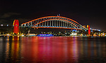 Sydney Harbour Bridge made red for the 2016 Chinese New Year Celebrations in Sydney, Lunar Lanterns Festival across the city cbd. Year of the Monkey, Sydney, NSW, Australia