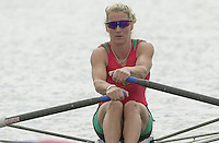 Nottingham, ENGLAND.  <br />  <br />   <br /> Commonwealth Regatta - Nottingham<br /> 20020818<br /> Women's Lightweight single scull<br /> Wales kirsten MCCLELLAND-BROOKS  . moving off then start.