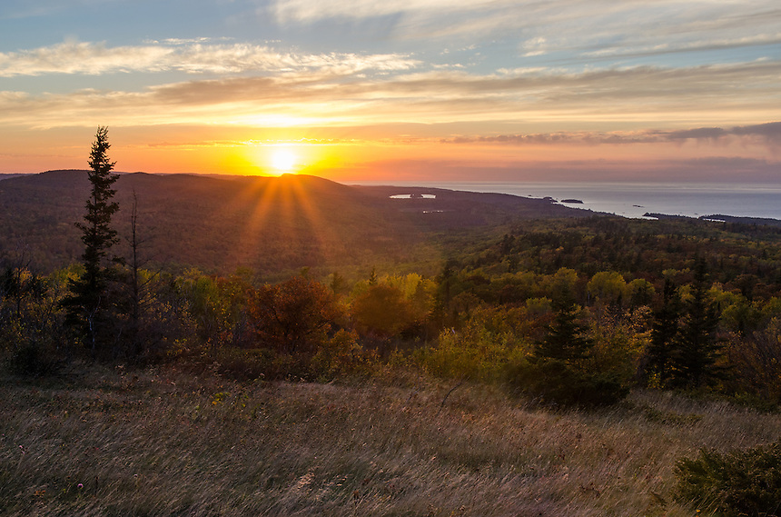 The view from Brockway Mountain as the sun sets over Lake Superior. Copper Harbor, MI