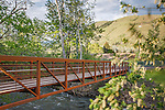 a trail bridge across the rattlesnake creek near downtown missoula, montana with mount jumbo and the L in background
