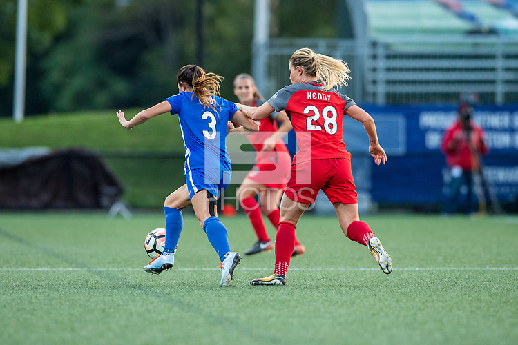Boston, MA - Sunday September 10, 2017: Brooke Elby and Amandine Henry during a regular season National Women's Soccer League (NWSL) match between the Boston Breakers and Portland Thorns FC at Jordan Field.