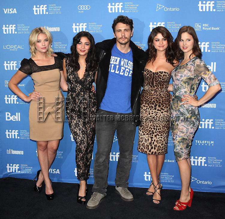 Ashley Benson, Vanessa Hudgens, James Franco, Selena Gomez and Rachel Korine attending the The 2012 Toronto International Film Festival.Photo Call for Spring Breakers' at the TIFF Bell Lightbox in Toronto on 9/7/2012