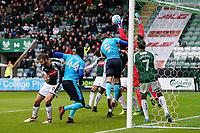 Plymouth Argyle's  goalkeeper Kyle Letheren saves a header from Fleetwood Town's Cian Bolger <br /> <br /> Photographer Andrew Kearns/CameraSport<br /> <br /> The EFL Sky Bet League One - Plymouth Argyle v Fleetwood Town - Saturday 7th October 2017 - Home Park - Plymouth<br /> <br /> World Copyright &copy; 2017 CameraSport. All rights reserved. 43 Linden Ave. Countesthorpe. Leicester. England. LE8 5PG - Tel: +44 (0) 116 277 4147 - admin@camerasport.com - www.camerasport.com