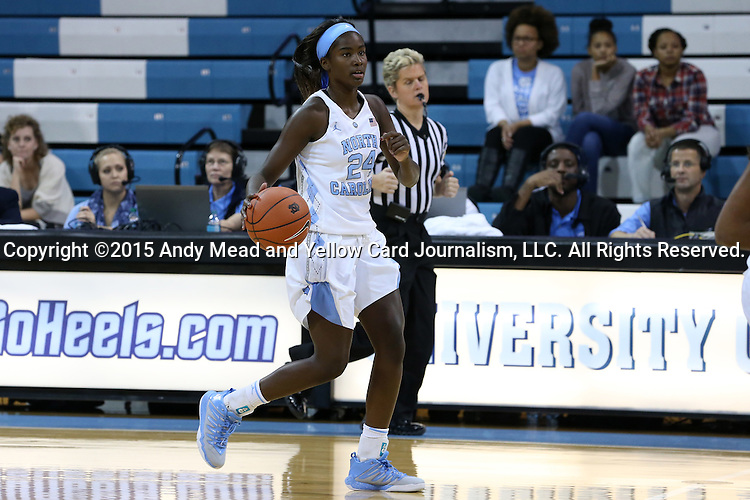 13 November 2015: North Carolina's Destinee Walker. The University of North Carolina Tar Heels hosted the Gardner-Webb University Runnin' Bulldogs at Carmichael Arena in Chapel Hill, North Carolina in a 2015-16 NCAA Division I Women's Basketball game. Gardner-Webb won the game 66-65.